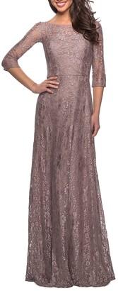 La Femme Floral Lace 3/4-Sleeve A-Line Gown
