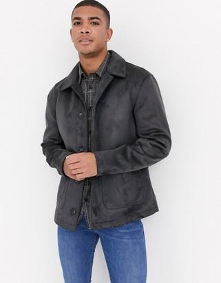 Asos DESIGN faux suede worker jacket in grey