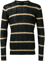 Roberto Collina striped ribbed sweater - men - Cotton/Linen/Flax/Polyester - 46