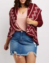 Charlotte Russe Plus Size Geometric-Patterned Open-Front Cardigan