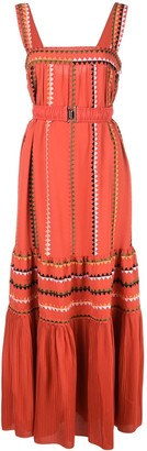 Derek Lam Embroidered Georgette Tank Dress with Pleated Hem
