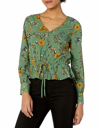 Cupcakes And Cashmere Women's Kalia Soft Satin Button Front Blouse with Waist line