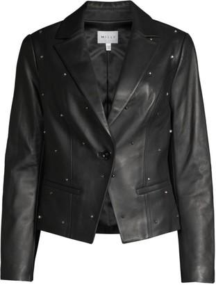 Milly Emiline Studded Leather Blazer