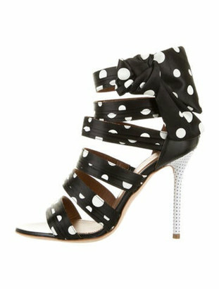 Malone Souliers Polka Dot Print Bow Accents Sandals w/ Tags Black