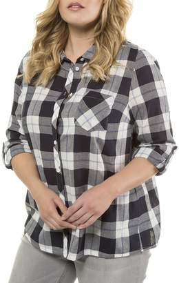 Ulla Popken Printed Check Long-Sleeved Shirt