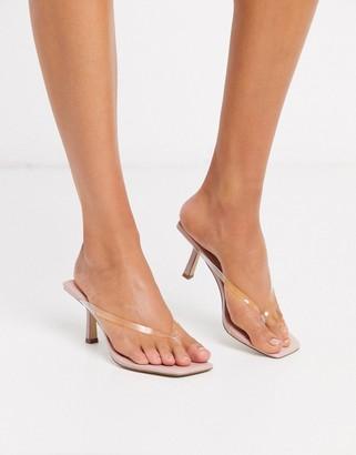 BEIGE Asos Design ASOS DESIGN Hayes flip flop mid-heels in clear and