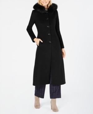 Anne Klein Fox-Fur Trim Hooded Walker Coat