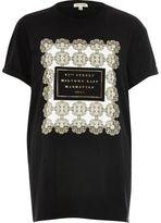 River Island Womens Black 'Manhattan' print boyfriend T-shirt