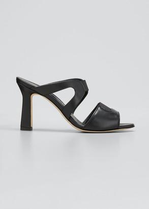 Manolo Blahnik Abeba Two Band Slide Sandals