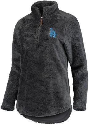 Women's Soft as a Grape Charcoal Los Angeles Dodgers Sherpa Quarter-Zip Pullover Sweatshirt