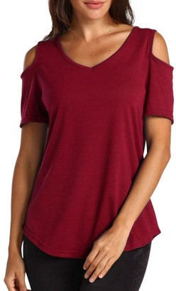 Kalorywee Sale Clearance Women's Casual T Shirt V Neck Cold Shoulder Tunic Tops Short Sleeve Tshirt Black
