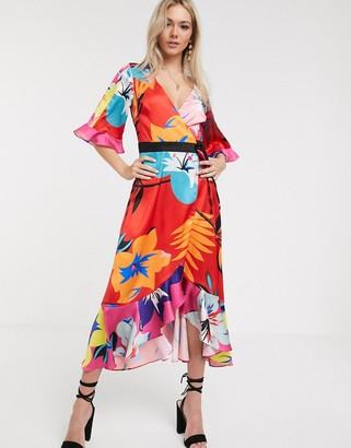 Liquorish kimono midi dress in mixed print floral-Red