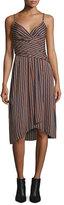 Diane von Furstenberg Saige Striped Stretch Silk Dress, Rickrack Khaki