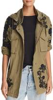 Alice + Olivia Meta Lace-Inset Embroidered Parka