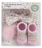 Little Me Baby Girl's Three-Piece Leopard-Print Bow Headwrap, Pom Pom Clippie and Booties Set