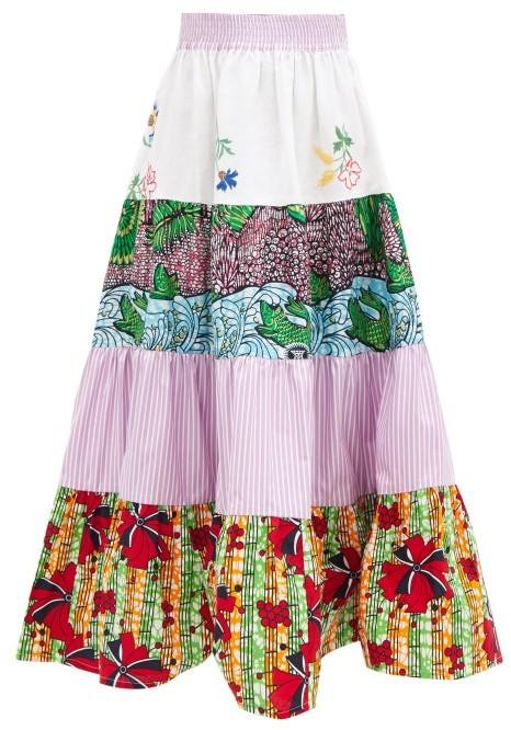 Thumbnail for your product : RIANNA + NINA Kendima Printed Cotton-volant Midi Skirt - Blue Multi