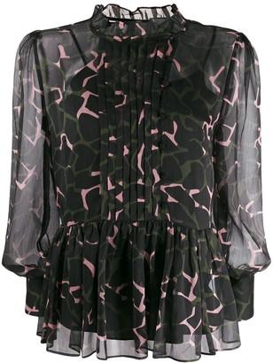 Emporio Armani floaty camouflage-print blouse