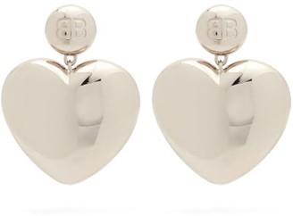 Balenciaga Susi Logo-engraved Heart Drop Earrings - Silver