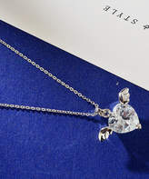 Streetregion Women's Necklaces White - Crystal & Silvertone Angel Wing Heart Pendant Necklace