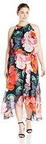 MSK Women's Plus-Size Halter-Neck Woven High/Low Dress
