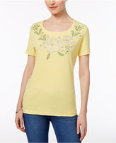 Karen Scott Petite Embellished Floral Graphic Top, Only at Macy's
