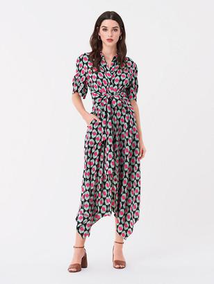 Diane von Furstenberg Kendyl Silk Crepe de Chine Belted Midi Dress