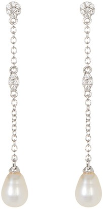 ADORNIA Sterling Silver Swarovski Crystal Accented & 7mm Freshwater Pearl Drop Earrings