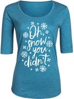 Heather Turquoise 'Oh Snow You Didn't' Three-Quarter Sleeve Tee