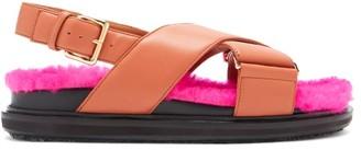 Marni Bi-colour Shearling-fussbett Slingback Sandals - Tan