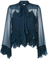 See by Chloe embroidered frill blouse - women - Polyester/Viscose - 38