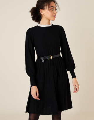 Monsoon Woven Collar Knit Knee-Length Dress Black