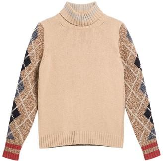 Max Mara Cashmere Argyle-Sleeve Sweater