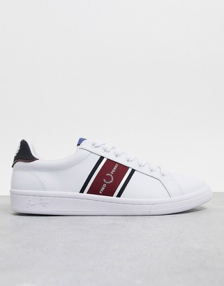 Fred Perry B721 leather sneakers with webbing in white