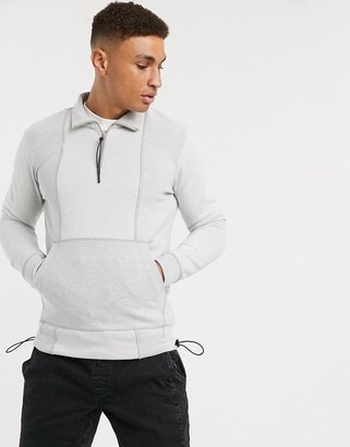 Jack and Jones Core quarter zip tech sweat jacket in gray