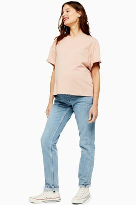 Topshop Womens **Maternity Bleach Under The Bump Mom Jeans - Bleach Stone