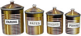 One Kings Lane Vintage Midcentury French Kitchen Canisters - Set of 4 - THE QUEENS LANDING - brown/multi