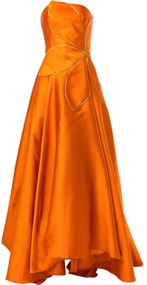 Bambah Strapless Flower Motif Gown