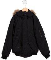 Bonpoint Boys' Fur-Trimmed Bomber Coat