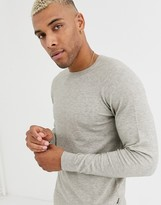 Only & Sons crew neck knitted jumper in light grey