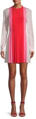 Valentino Pleated Colorblock Silk Shirtdress