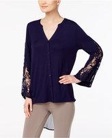 August Silk Crochet-Sleeve High-Low Blouse