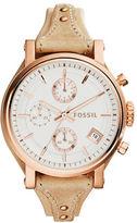 Fossil Ladies Original Boyfriend Rose Goldtone Leather Strap Watch