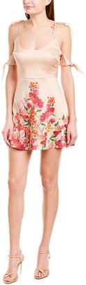 LPA Cold-Shoulder Silk-Blend A-Line Dress