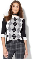 New York & Co. Argyle Twofer Sweater - Petite