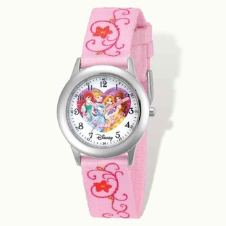 Disney Princess Printed Pink Fabric Time Teacher 7.25-inch Watch
