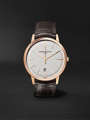 Vacheron Constantin Patrimony Automatic 40mm 18-Karat Pink Gold And Alligator Watch, Ref. No. 85180/000r-9248