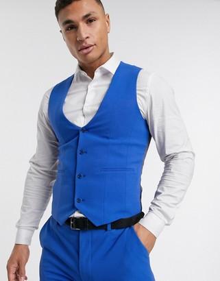 ASOS DESIGN super skinny suit vest in bright blue