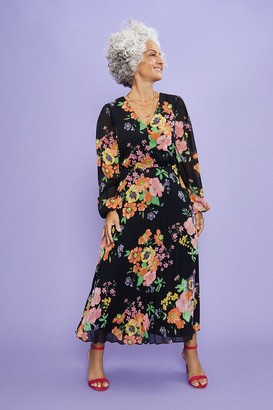 Coast Pansy Bloom Pleated Midi Dress