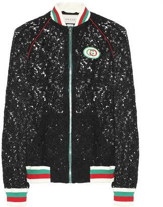 Gucci Floral-lace bomber jacket