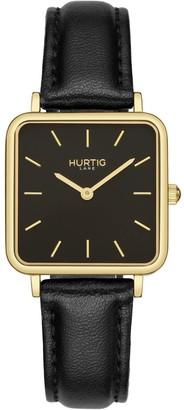 Hurtig Lane Nelio Square Vegan Leather Watch Gold/Black/Black